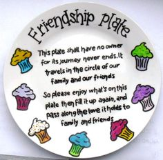 Friendship plate with the 'forever cupcakes' design. www.facebook.com/sazelgifts