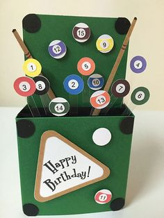 A personal favorite from my Etsy shop https://www.etsy.com/listing/234385725/happy-birthday-billiards-card-in-a-box
