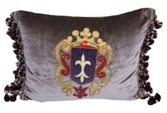 Appliqued  Velvet Pillow w/  Crest