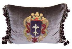Appliqued  Velvet Pillow w/  Crest