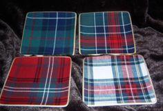 4 New Williams Sonoma Tartan Plaid Appetizer Plates   eBay Scottish Plaid, Scottish Tartans, Wallace Tartan, Fraser Clan, Secret Bar, Appetizer Plates, Dessert, Gingham Check, Williams Sonoma