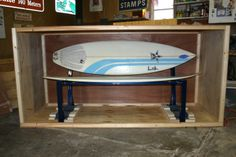A park bench made from two surfboards is all crated up and ready for shipping to one of my clients.