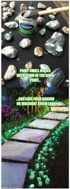 Fun idea, but I can see a potential problem when the time comes to mow.  I think the glowing rocks need to be contained somehow. Or maybe use larger painted rocks to line a walkway and just plan to use an edger for trimming the grass.