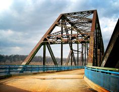 The Chain of Rocks Bridge, St. Louis, Missouri - the most famous Route 66 crossing of the Mississippi River with the unique feature of a 22-degree bend in the middle necessary for navigation on the river.