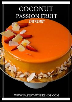 This coconut passion fruit entremet is a pastry masterpiece, not only thanks to its mirror glaze and perfect lines, but also due to its amazing taste! Entremet Recipe, Coconut Mousse, Passion Fruit Juice, Passion Fruit Mousse Cake Recipe, Mango Mousse Cake, Cake Recipes, Dessert Recipes, Fall Desserts, Chocolate Belga