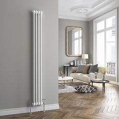 Traditional Cast Iron Style Vertical Radiator White 2 Column 1800 X 196 Mm