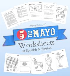 10 classroom and homeschool worksheets about Cinco de Mayo. Learn and celebrate in English and Spanish. https://happythought.co.uk/product/cinco-de-mayo-worksheets-in-spanish  #cincodemayo #mexico #festival #worksheets #education #printables #teachers #holiday