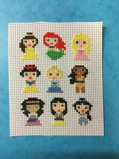 Disney Princesses Cross Stitch [Belle, Ariel, Aurora, Snow White, Cinderella, Pocahontas, Esmeralda, Mulan, Jasmine] - Beauty and the Beast, The Little Mermaid, Sleeping Beauty, Snow White and the Seven Dwarfs, Cinderella, Pocahontas, The Hunchback of Notre Dame, Mulan, Aladdin