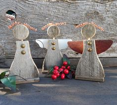 Wooden Angels Set of 3 Rustic Handcrafted Ornaments ~ Handmade Angel ~ Christmas Decoration ~ Christmas Gift ~ Religious ~ Christmas Decor by RusticSpoonful on Etsy