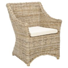 Add a charming touch to your den or sunroom with this chic arm chair, showcasing a rattan and kubu frame and cotton cushion.    Product: ...