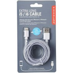 Charge your phone with this 6 foot cable. Works with iPhone 5, 5C, 5S, 6, 6 Plus. Colors vary - Red, White, and Blue<br><br>Size - L 0.94 x W 4.02 x H 7.32