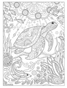 Creative Haven Fanciful Sea Life Coloring Book (Adult Coloring) Turtle Coloring Pages, Adult Coloring Book Pages, Mandala Coloring Pages, Animal Coloring Pages, Coloring Pages To Print, Free Coloring Pages, Printable Coloring Pages, Coloring Books, Coloring Pages For Grown Ups