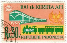 Indonesia postage stamp: trains