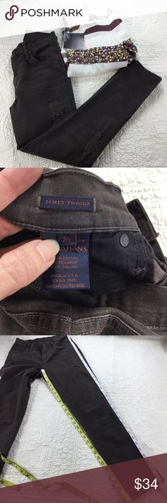 James Jeans Twiggy. Size 26. Nordstrom's. Cute, James Jeans Distressed Twiggy Jeans. Size 26. Kenwood/ Brownish-Black Color. Please See All Pictures For Approximate Measurements. Thank you for shopping my closet.🌸 James Jeans Jeans Skinny