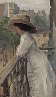 Isaac Israels - (Amsterdam 1865-1934 The Hague) - An elegant lady on a balcony, Rue de Clignancourt, Paris