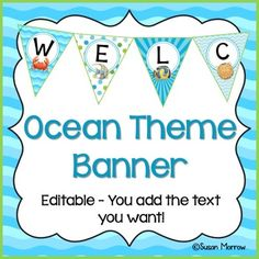 This product is part of my Ocean Theme Classroom Décor Mega Pack – editable! Be sure to check it out for super savings! Welcome your students to. First Grade Classroom, New Classroom, Preschool Classroom, Classroom Themes, Classroom Organization, Classroom Welcome, Classroom Banner, Ocean Theme Decorations, Ocean Themes