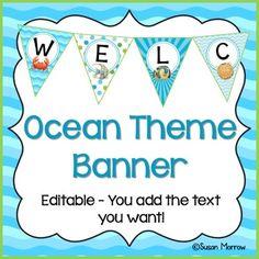 Ocean Theme Classroom Banners - Editable