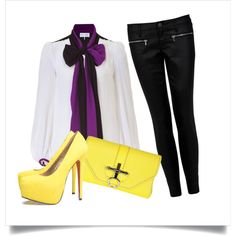 I love the colors purple and yellow together! ; created by me on Polyvore