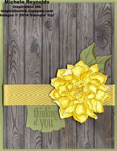 """Handmade thinking of you card by Michele Reynolds, Inspiration Ink, using watercoloring and Stampin' Up! products - Peaceful Petals Set, Hardwood background stamp, 3/4"""" Chevron Ribbon, and Artisan Label Punch."""