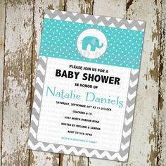 baby boy shower invitation blue elephant with gray chevron, digital, printable file (item 1237). $13.00, via Etsy.