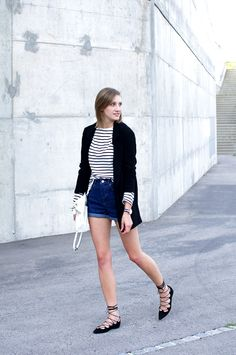 Lace up flats. Denim shorts. Stripe top. Black Blazer. - Latest trends and fashion advice at www.littlepinkmoto.com