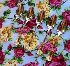 Royal Albert Old Country Roses Grapefruit Spoons by TheDrippingTap Gold Flatware, China Patterns, Family Traditions, Royal Doulton, Royal Albert, Free Images, Roses, Country, Spoons