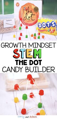 Teach Growth Mindset with The Dot: The Dot STEM Activity is a great companion to The Dot by Peter Reynolds! This is an excellent International Dot Day Activity! In this STEM Challenge, students design and build as many objects as they can out of Dots Cand Steam Activities, Science Activities, Activities For Kids, Science Experiments, Peter Reynolds, Kindergarten Stem, Growth Mindset Activities, International Dot Day, Dots Candy