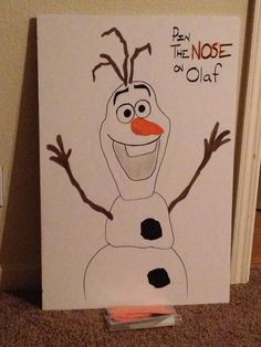 pin the nose on Olaf, the snowman from Frozen. -Giggle Bean: Frozen Birthday Party!
