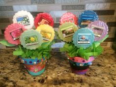 """House warming gift bouquet of Yankee Candle tarts"". Housewarming party favors."