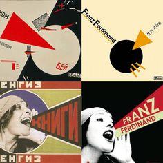 Links: Russisch Constructivisme. Rechts: Franz Ferdinand album covers.