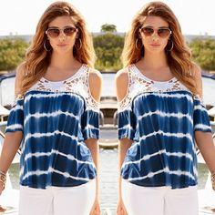 Scoop Lace Patchwork Short Sleeves Regular T-shirt Reciclagem De Roupas 861cae893cc