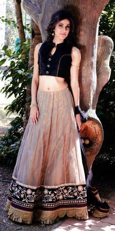 Black High Neck #Blouse with Cream #Lehenga.