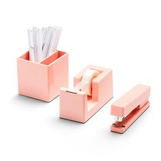 Poppin Blush Desk Accessories Set - includes tape dispenser, stapler, pen holder and 6 pens. This set is perfect for a blush office Cool Office Supplies, Office Organization At Work, School Supplies, Craft Organization, Organizing Ideas, Art Supplies, Desktop Accessories, Office Accessories, Home Music
