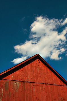 Red barn, blue sky - Landscape photography red barn photo  Americana by Carl Christensen