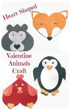 Heart-Shaped Valentine Animals Craft #ValentineCrafts #ValentinesDay