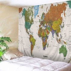 Wall Tapestry World Map Print Tapestry Wall Hanging Art Decoration Inspire Me Home Decor, Home Wall Decor, Art Decor, Blanket On Wall, Wall Blankets, Tapestry Online, World Map Tapestry, Cheap Wall Tapestries, Tapestry Bedroom