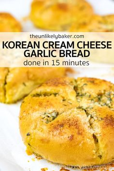 Korean garlic bread is bread that's cut into wedges, filled with sweetened cream cheese, dipped in rich creamy garlic butter, then baked until wonderfully crunchy and golden brown. So good! Korean street food at its best. And done in less than 15 minutes. Follow along with step-by-step photos. Tart Recipes, Best Dessert Recipes, Low Carb Recipes, Baking Recipes, Snack Recipes, Bread Recipes, Cream Cheese Bread, Garlic Cheese Bread, Knead Bread Recipe