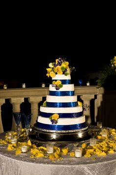 Blue and yellow cake table by Southern Event Planners, Memphis Tennessee, Memphis weddings.