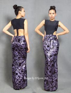 Đầm dài với chi tiết cutout làm tôn vóc dáng cơ thể,hoa văn tím nữ tính kết hợp với thiết kế mạnh mẽ.