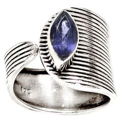 Sapphire Sterling Silver Adjustable Lines Ring