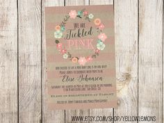 Tickled pink baby shower invitation (digital file only) cute, painted, hand drawn, flowers, wreath, new baby, mom to be, vintage, retro by yellowlemons on Etsy