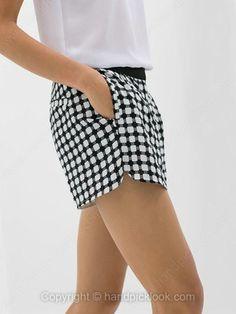 Black and White Mid Waist Plaid Shorts -$19.39
