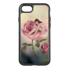 Rose Flower Fairy OtterBox Symmetry iPhone 7 Case -  OtterBox Apple iPhone 7 with my original painting of a tiny fairy with iridescent wings sitting on a pink rose,... #custom #beach themed #gift #otterbox design by #twosilverstars - #otterbox #fairy #fantasy #flower #flowerfairy #ladybird #pink #green #spring #ladybug #yellow #wings #water #drop #pixie #colorful #faerie #fairie #rachelanderson #realism #floral #petal #pinkflower #sparkling #fairywings