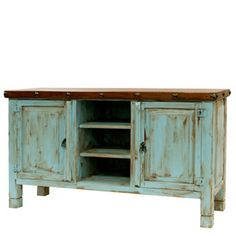 Turquoise Blue TV Stand Console Vintage Distressed Solid Wood Cabinet Storage | #mexican #mexicanDecor #decor #mexicanHomeDecor #homeAccessories #vintage #vintageCabinet #mexicanFurniture #MexicanVintageFurniture Mexican Furniture, Home Decor Furniture, Vintage Furniture, Mexican Home Design, Mexican Home Decor, Blue Tv Stand, Mexican Decorations, Tv Stand Console, Solid Wood Cabinets