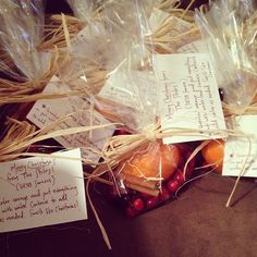 Scent of Christmas  Make an easy and affordable gift! Package together an orange, cinnamon sticks, and handfull of cranberries.   Hint: Throw in some cloves if you like!  Write a note to your neighbors, small group, or Bible study members with instructions to add a quart of water and simmer.   Don't forget to them a Merry Christmas!  (Photo Credit: Sarah Stiles)