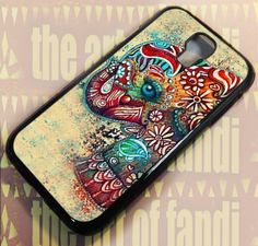 Cute Elephant For Samsung Galaxy S4 Black Rubber Case