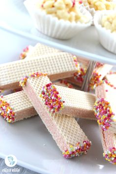 Eliza Ellis: Chocolate Dipped Wafers: Last Minute Sprinkles Party Part Four Wafer Cookies, Sugar Cookies, Fun Desserts, Dessert Recipes, Yummy Treats, Sweet Treats, Sprinkle Party, Chocolate Dipped, Chocolate Sprinkles