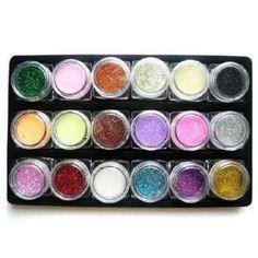 $5.79    18 Colors Shinny Glitter Nail Art Kit Acrylic UV Powder Dust Decoration