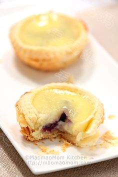 【Purple Yam Egg Tarts】  by MaomaoMom Chinese Dim Sum restaurants serve puff pastry treats such as the famous airy flaky egg tarts, which are my son's favorites. Traditionally, Chinese puff pastry dough is made from l