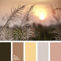 amarillo, color amarillo soleado, color hierba marchita, combinaciones de colores, elección del color, marrón, matices cálidos del marrón, rosa pardusco, tonos marrones.